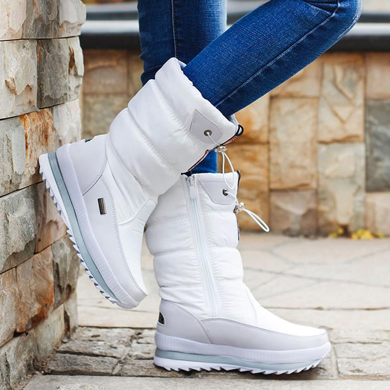 Women snow boots platform shoes woman winter boots thick plush waterproof non slip mid calf boots women winter shoes botas mujer