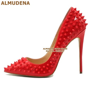 ALMUDENA 8 10 12cm Stiletto Heels Rivets Pointed Toe Shoes Red Pink Black Studded Wedding Shoes Full Spikes Dress Pumps Size45 цена 2017