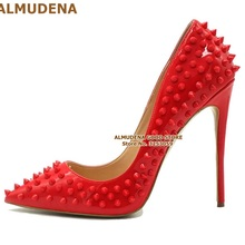ALMUDENA 8 10 12cm Stiletto Heels Rivets Pointed Toe Shoes R