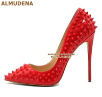 ALMUDENA Factory Real Photo Gold Heels Sequined Bling Bling Rivets Pointed Toe Shoes Red Pink Black Studded Wedding Shoes