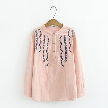 Woman Embroidery Blouse Spring Pink White Round Collar Quarter Button Front Design Stitchwork Cotton Top Female Blouses 2020 flower embroidery front smock top