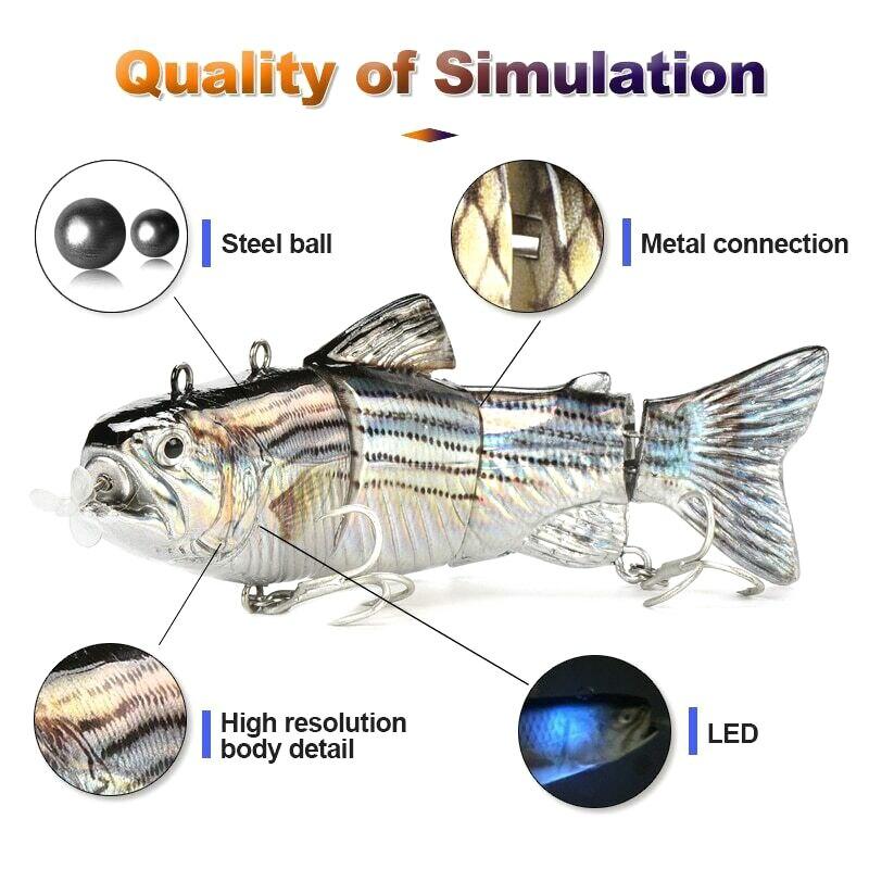 Leurre de pêche électrique Wobblers appâts artificiels rechargeables USB à 4 segments BHD2