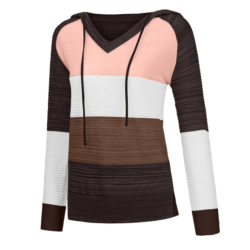 Letdown Fashion Women Casual Patchwork V-Neck Long Sleeves Hooded Sweater Blouse Tops Womens Autumn Fashion 2020 TM