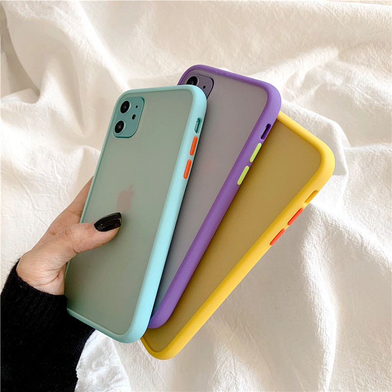 H773be64e632c4e70acedac53d6d6b8590 - Mint Hybrid Simple Matte Bumper Phone Case For iPhone 11 Pro Max XR XS Max 6S 8 7 Plus Shockproof Soft TPU Silicone Clear Cover