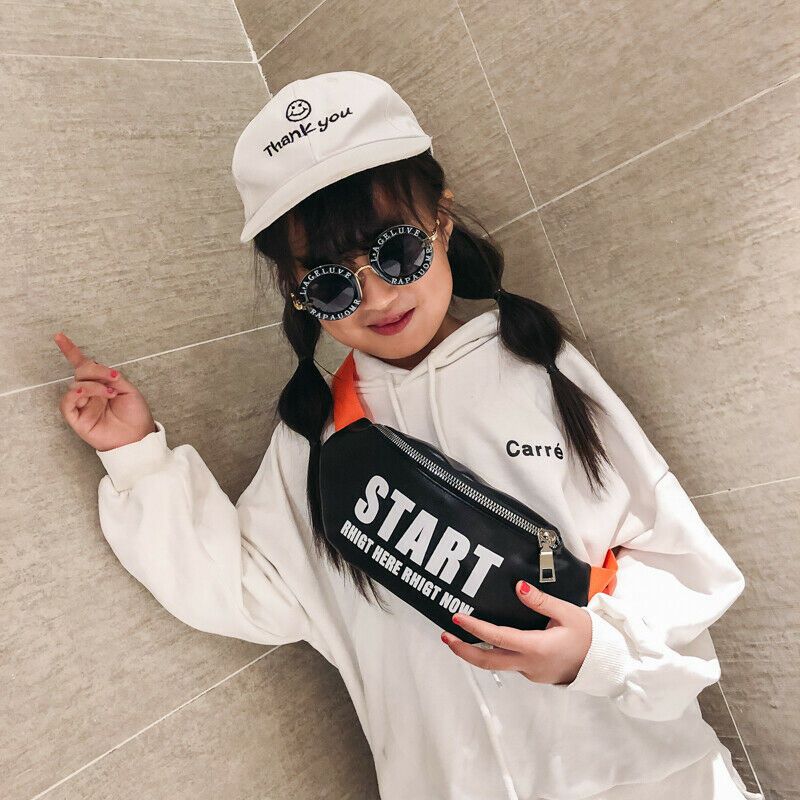 Cool Girl Black Waist Bag  Fanny Pack Shiny Start Rhigt Here Rhigt Now Letter PU Pouch Chest Belt Kid Boy Phone Travel Purse
