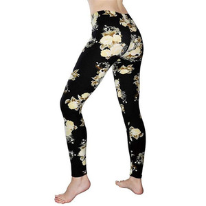Image 2 - YGYEEG 뜨거운 고탄력 디자인 빈티지 낙서 레깅스 플로랄 무늬 프린트 레깅스 여성용 고품질 레깅스 판매 2020