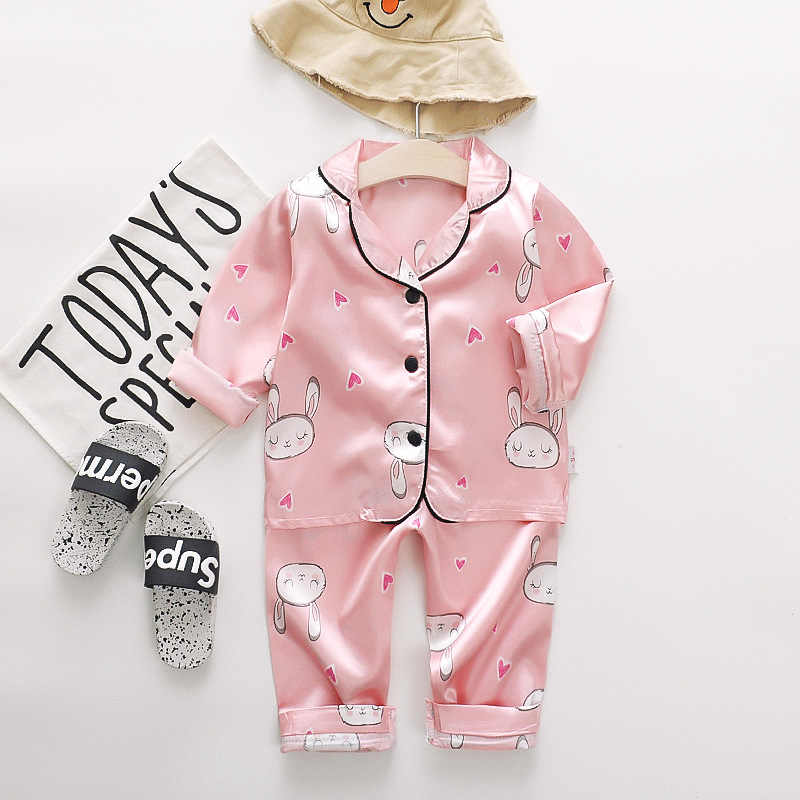 ชุดนอนเด็กทารกชุดเด็กเสื้อผ้าเด็กวัยหัดเดินเด็กหญิงผ้าไหมซาตินการ์ตูนพิมพ์กางเกงชุดบ้านสวมใส่