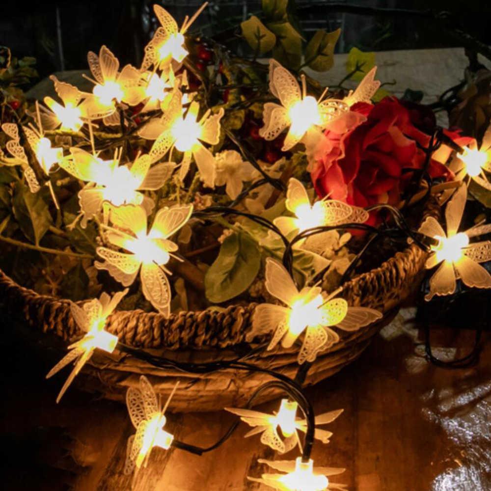 3 м 20 светодиодов гирлянды бабочки, цветы, фея хрустальные цветы гирлянды для свадьбы Рождество украшения дома
