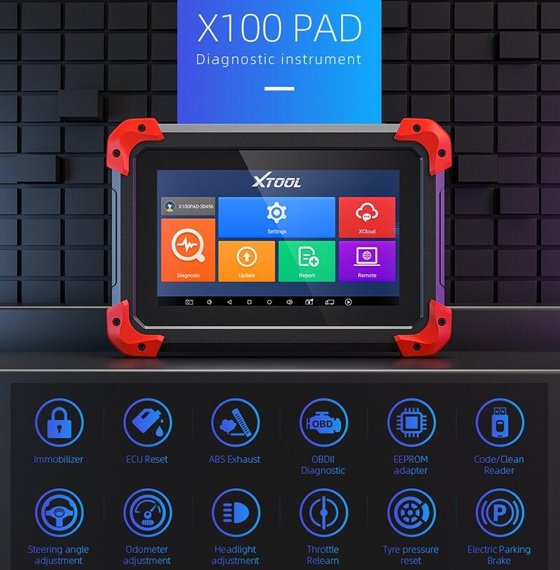 XTOOL Original X100 Pad Car Key Programmer OBD2 Diagnostic Tool Odometer Adjustment Code Reader Scanner ECU For Ford Free Update