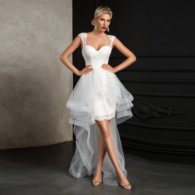 Eightale Beach Wedding Dresses Boho Sweetheart Ruffles Lace Tulle Wedding Gowns Short Front Long Back Bride Dress Vestidos