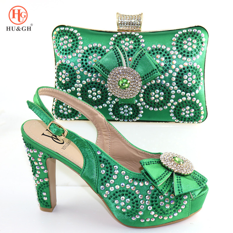 New Italian Shoes and Bags To Match Shoes with Bag Set Decorated with Rhinestone Nigerian Women Wedding Shoes African High Heels