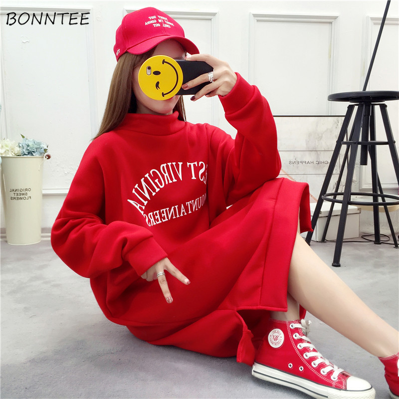 Hoodies Women Thicker Plus Velvet Warm Letter Printed Loose Harajuku Pullovers Womens Long Korean Style Ulzzang Chic Sweatshirts