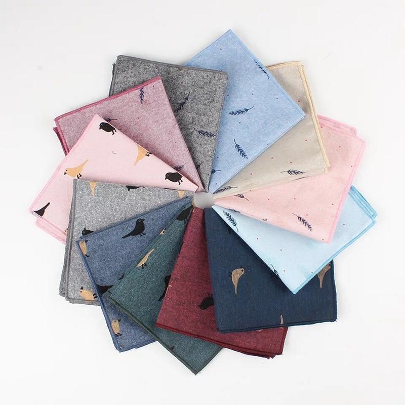 Men Pocket Square Printed Bird Feather Soft Light Elegant Handkerchief 24*24cm Cartoon Design Wedding Party Suits Pockets 2019