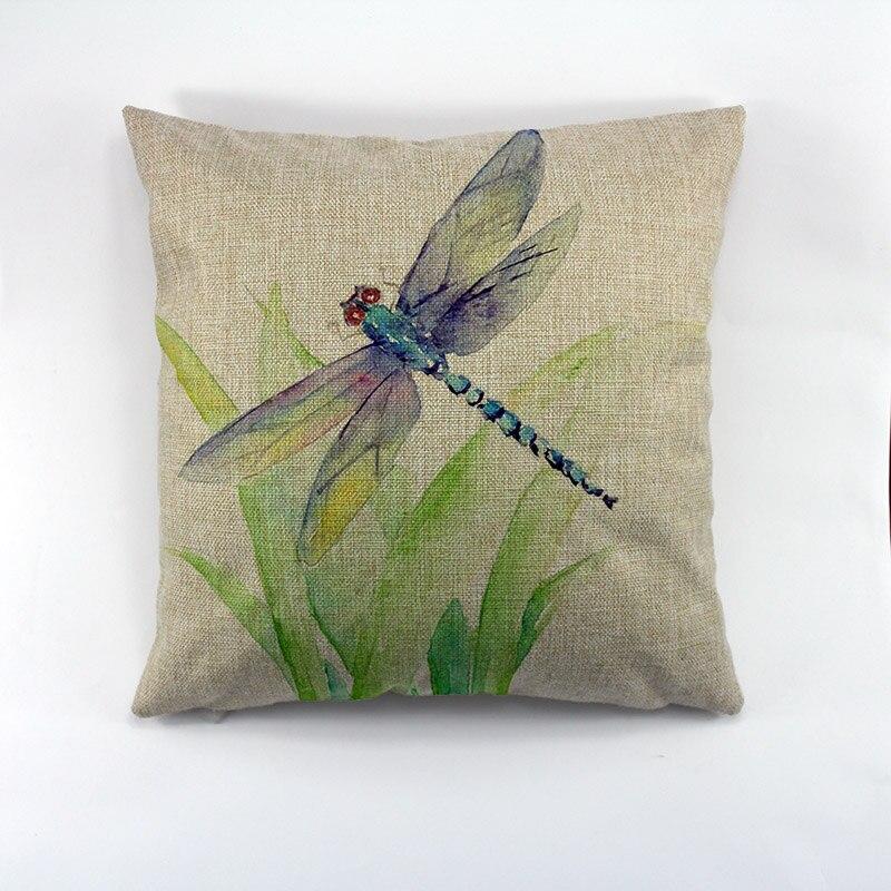 Декоративная льняная наволочка в стиле стрекозы, декоративный чехол для подушки, креативное украшение для дома, дивана, акварель