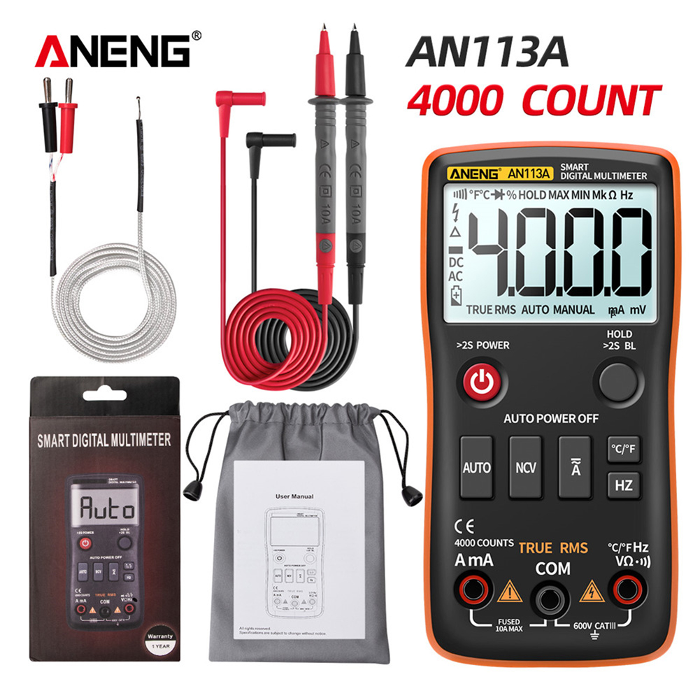 ANENG AN113A Auto Range Intelligent Digital Multimeter 4000 Count Voltmeter Professional Multimetro DIY Transistor Testers