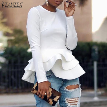 Elegant Solid Ruffle Shirts Women's Flounce Blouse ZANZEA Spring Long Sleeve Peplum Tunic Female O Neck Blusas Plus Size Tops tie neck flounce blouse