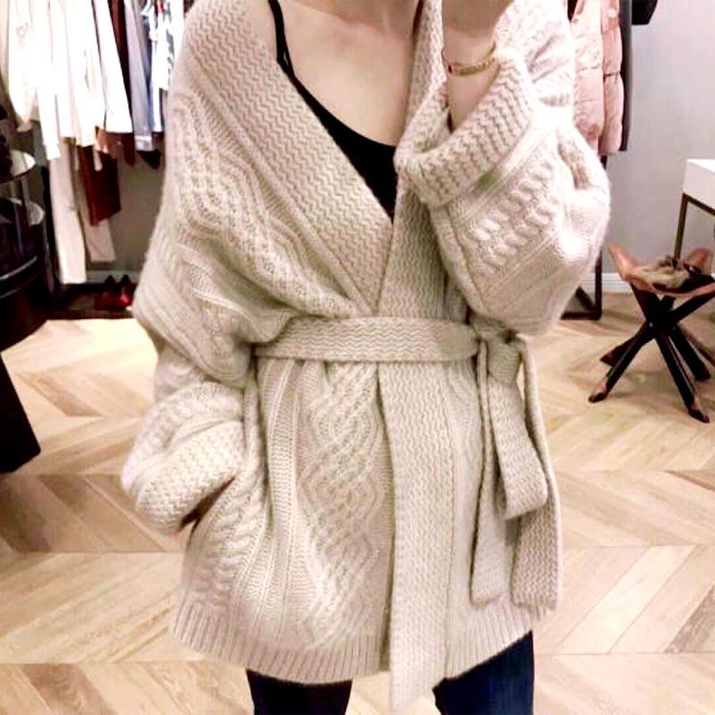 Women Cardigan With Tie Belt Wide Sleeve Open Front Cozy Knit Thick Knitwear Autumn Winter Cardigans Sweater