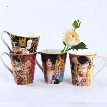 1 Piece Gustav Klimt Series Famous Oil Painting KISS WAIT Artwork Mug Coffee Tumbler Milk Breakfast Cup Taza Gato Xicara Koffie