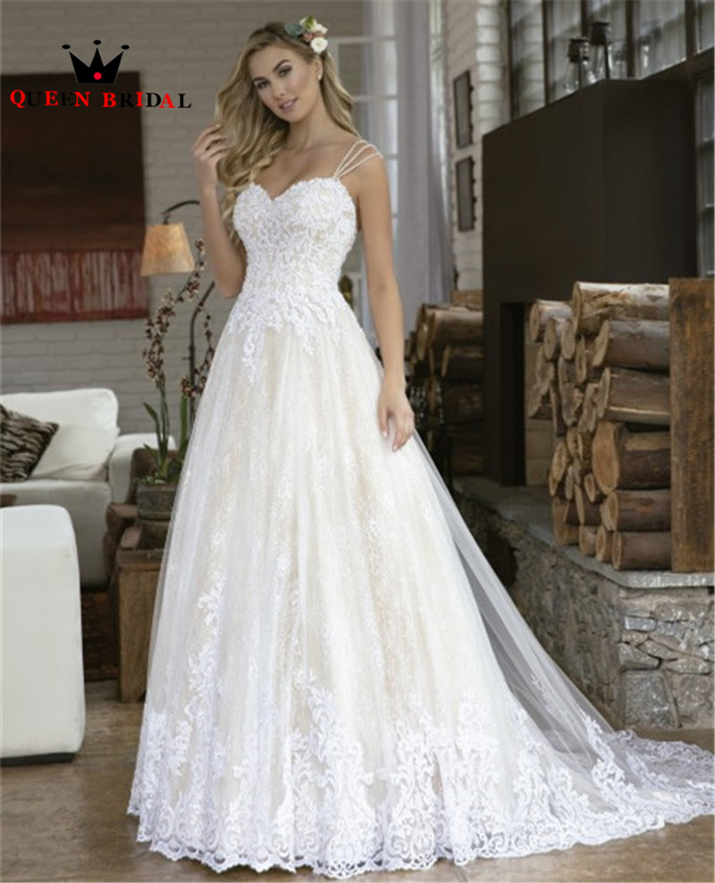 2020 New Design Wedding Dresses A-line Sweetheart Backless Tulle Lace Pearls Beading Elegant Formal Wedding Gowns Customize NO16