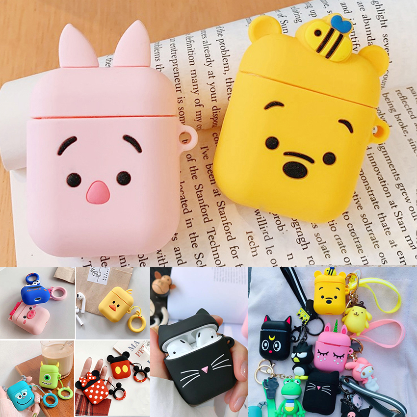 For AirPods Case Cute Cartoon Keychain Wireless Earphone Cover Funda For Air Pods 2 Headphone Case With Animal Keyring Case Capa