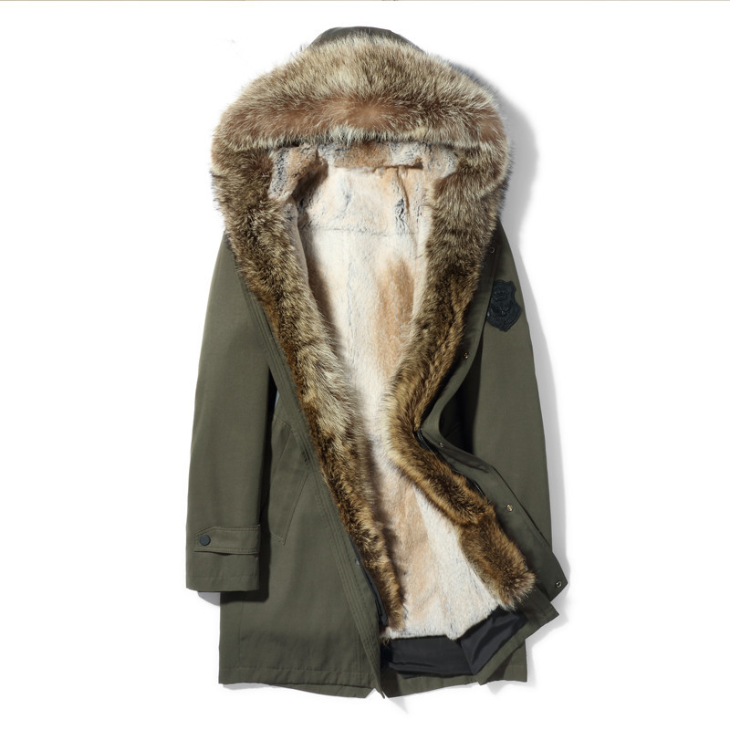 Real Fur Coat Natural Mink Raccoon Rabbit Fur Parka Winter Jacket Men Luxury Fur Warm Parkas Plus Size Veste MG-1807061 MY1979
