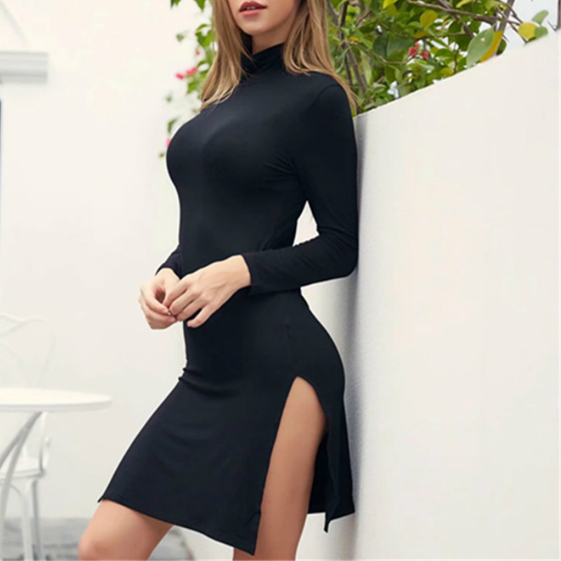 Autumn Dress Long Seeves Turtleneck Slim High Split Sexy Tight Package Hip Dresses Elastic Black Gray Solid Female Fashion Wear