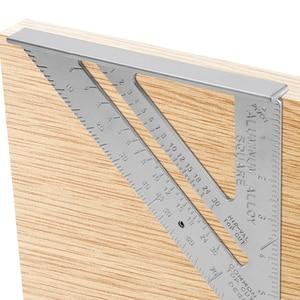 Measurement Tool Triangle Square Ruler Aluminum Alloy Speed Protractor Miter For Carpenter Tri-square Line Scriber Saw Guide