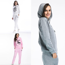 2020 Autumn Winter Two Piece Sets Women Slim Casual Long-sleeved Pants Hooded Sportswear Christmas Elk Letter Tracksuit Hoodies