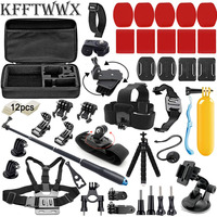 KFFTWWX Zubehör Kit für Gopro Hero 9 8 7 6 5 4 3 Schwarz Max Gehen Pro Sitzung YI 4K SJCAM SJ8 PRO EKEN H9R Osmo Action Kamera