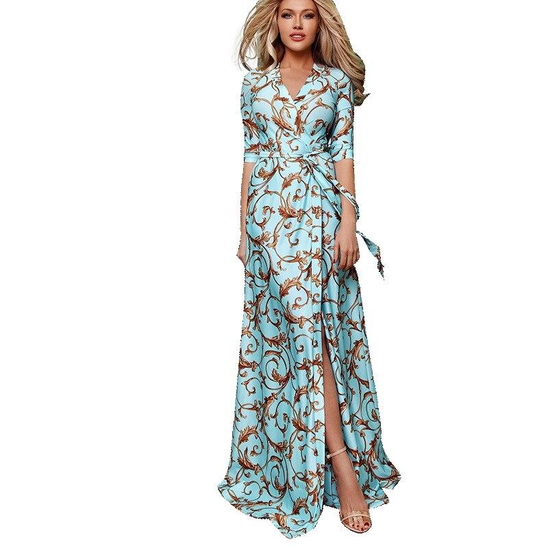 Женское богемное платье макси AECU, длинное пляжное платье с цветочным принтом и разрезом, в стиле бохо, лето