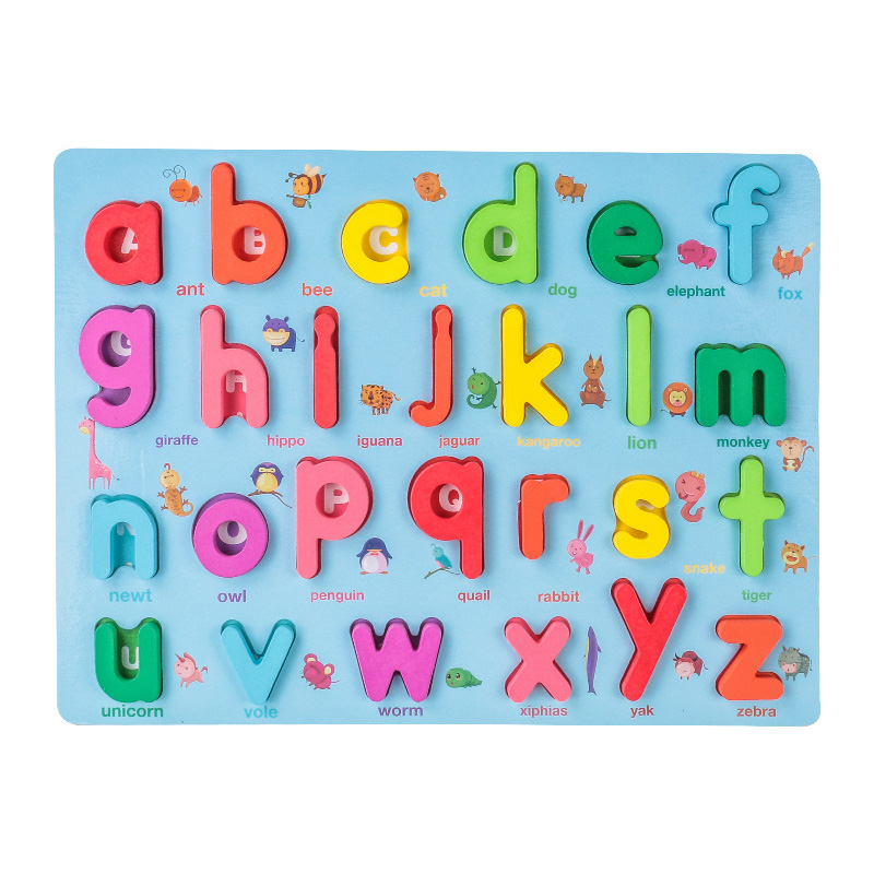 Kids 3D Wooden Puzzle Toys Colorful Number Letter Geometry Shape Cognition Grasp Board Early Learning Educational Montessori Toy 3