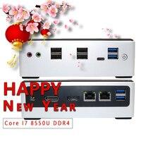 8th Gen Mini PC Intel i7 8550U i5 8250U 4 Core 8 Threads 2*DDR4 M.2 NVMe NUC Pocket Computer Win10 Pro Linux WiFi USB C DP HDMI