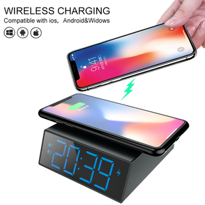Image 5 - Electric LED alarm clock with phone wireless charger Desktop digital thermometer clock HD mirror clock with date 12/24 h switch