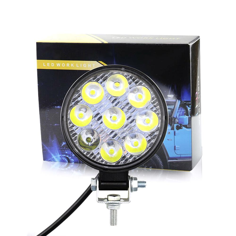 1pc 12V 24V LED Car Work Light Round 27W Car Light Bright Beam Spotlight Car Truck ATV SUV Off-road Tractor LED Work Light