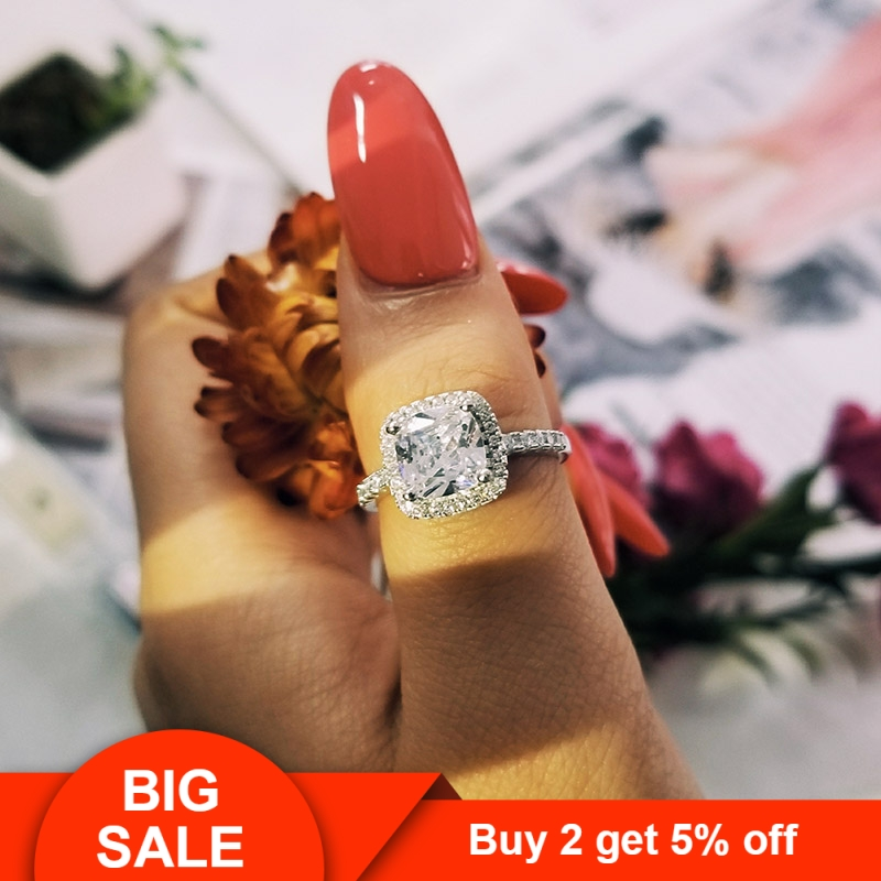 925 Sterling Silver Wedding Engagement promise Rings Pink blue for Women gold Wholesale Jewelry Finger solid design R820 in Engagement Rings from Jewelry Accessories