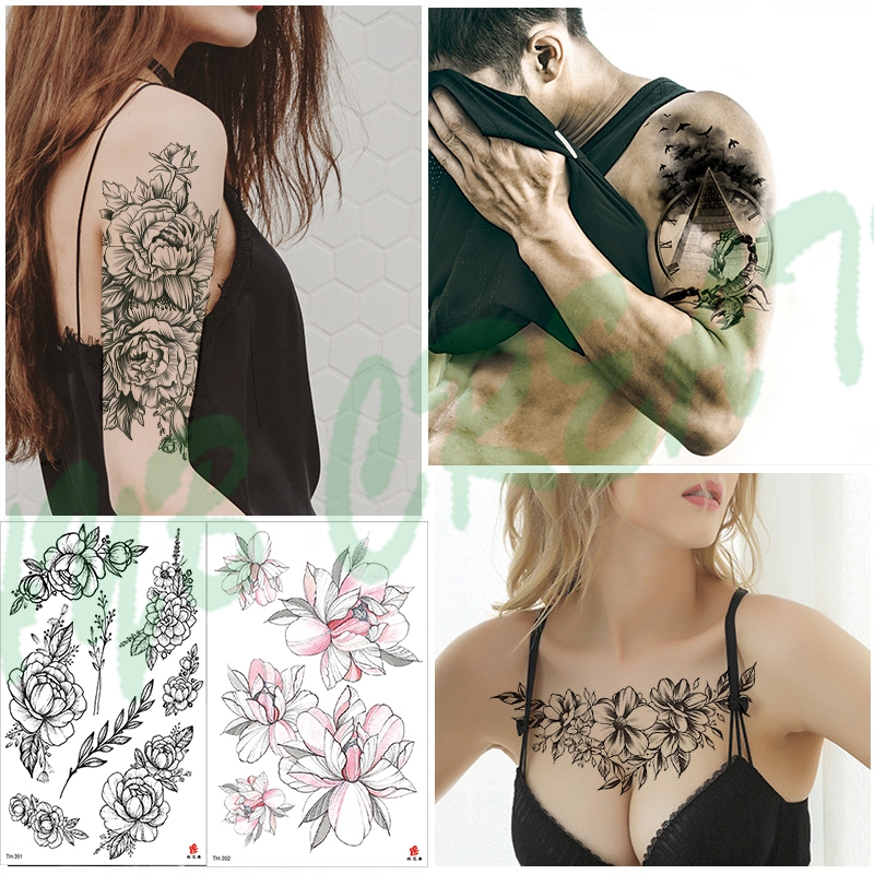 Tattoo Black Flower Tattoo Sleeves Water Transfer Tatoo Sticker Peony Rose Tattoos Body Art Sexy Tatoo Girl Arm Tatto For Man