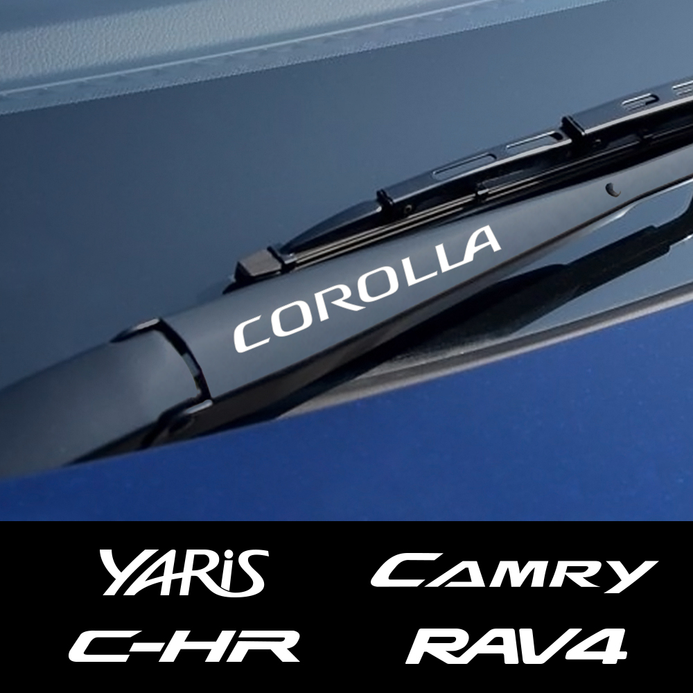 Image 1 - 4PCS Car Window Wiper Stickers For Toyota Corolla C HR RAV4 Yaris Camry Land Cruiser Avalon Highlander Mirai Avensis Prado Prius-in Car Stickers from Automobiles & Motorcycles