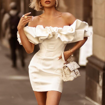 Ocstrade 2020 Fashion Ruffles Bodycon Satin Dress White Puff Shoulder Sexy Bodycon Party Dress Strapless Club Bodycon Dress фото
