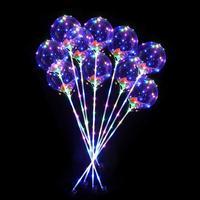 5/10 шт. ручка светодиодный Воздушные шары с палкой светящийся прозрачный перья Bobo праздничные воздушные шары одежда для свадьбы, дня рождени...