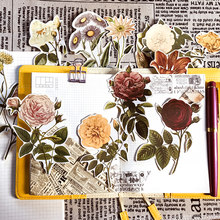 Lot de 20 autocollants rétro en forme de fleur pour compte à main, grande taille, pour album photo, DIY bricolage