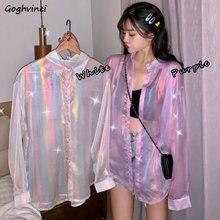 Mujer de verano delgada de talla grande 3XL prueba de sol diario prendas de vestir elegante brillo Ins Harajuku diseño blusas de mujer suelta Ulzzang nuevo