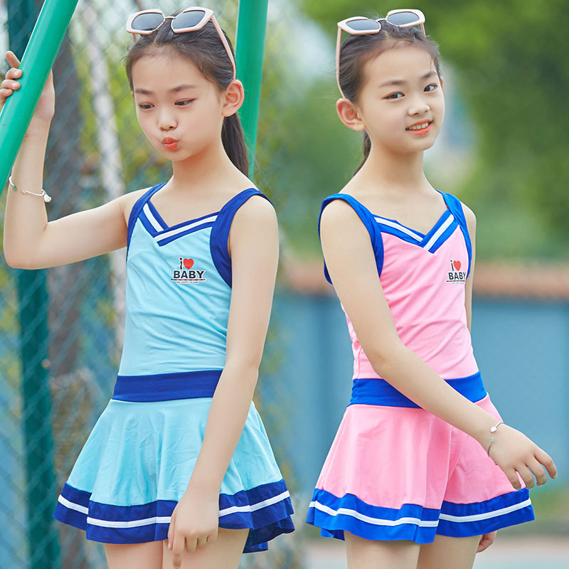 Girl'S Bathing Suit GIRL'S Big Boy Students Sports Hot Springs Swimwear Large Size Conservative Boxer Dress-Tour Bathing Suit