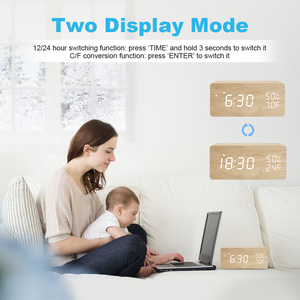 Image 3 - FiBiSonic LED Wooden Alarm Clock Sound Control Digital Alarm Clock USB/Battery Dimmer Indoor Snooze Thermometer Table Clock
