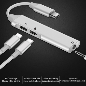 3 in 1 3.5mm AUX Audio Cable USB Type C Charge Audio Adapter for MacBook typ-c Headphone Car USB-C Charger Cable PD charging