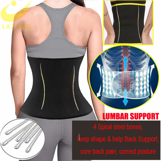 LAZAWG Waist Trimmer Waist Trainer for Weight Loss Sweat Belt Belly Fat Slimming Stomach Band Lumbar Support Neoprene Wrap Sets 4
