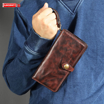 2020 New vintage leather long wallet Men's Wallet Retro Fold Soft Leather Clutch Bag card holder purse Trendy Men Casual Wallets