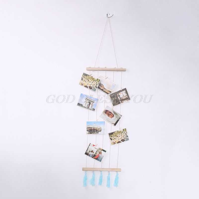 Nordic DIY Wooden Wall Hanging Picture Frame Collage Macrame Wall Decor Postcard Photo Display Home Decoration