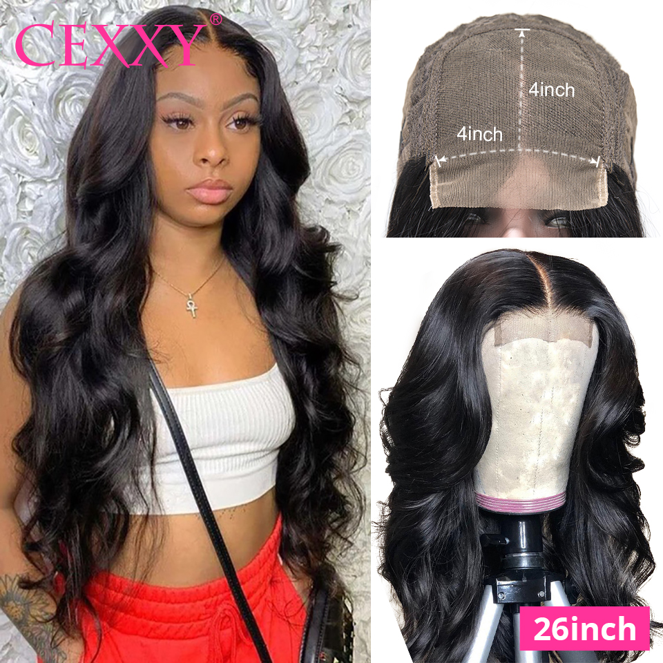 4*4 Lace Closure Wigs Malaysian Body Wave 180% Density Human Hair Wigs For Black Women 30 inch Long Length Lace Wig Remy Hair