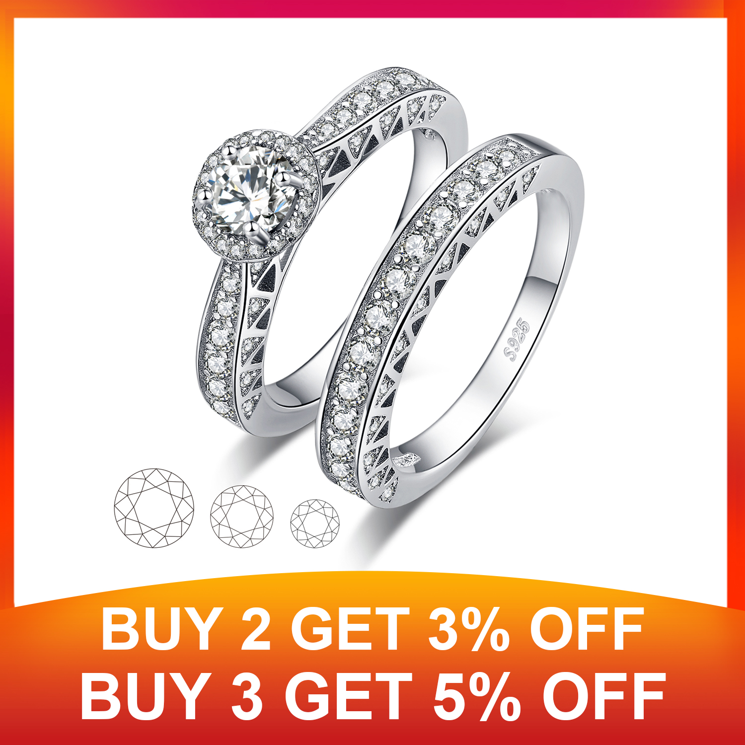 Vintage Engagement Ring Set 925 Sterling Silver Rings for Women Anniversary Wedding Rings Bands Bridal Sets Silver 925 Jewelry in Rings from Jewelry Accessories