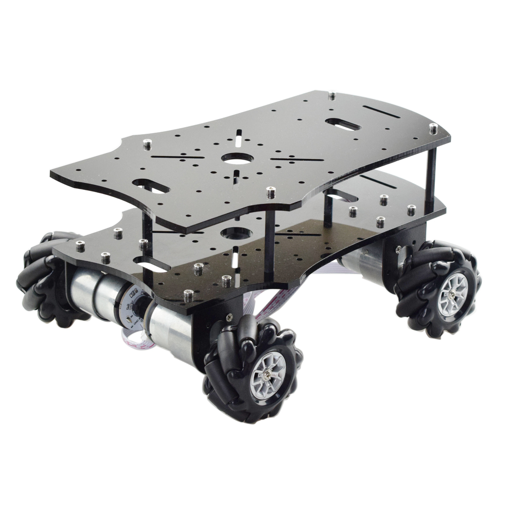 Cheapest 5KG Load 4WD 60mm Mecanum Wheel Robot Car Chassis with DC 12V Encoder Motor for Arduino Raspberry Pi DIY Project
